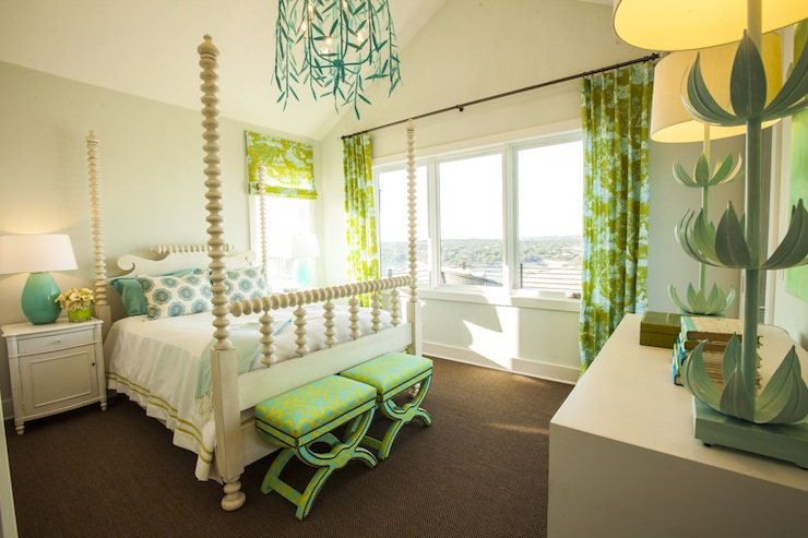 Turquoise and Green Girls Room  Contemporary  girls room  Southern Living