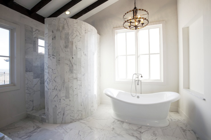 Curved Marble Shower  Transitional  bathroom  Southern Living