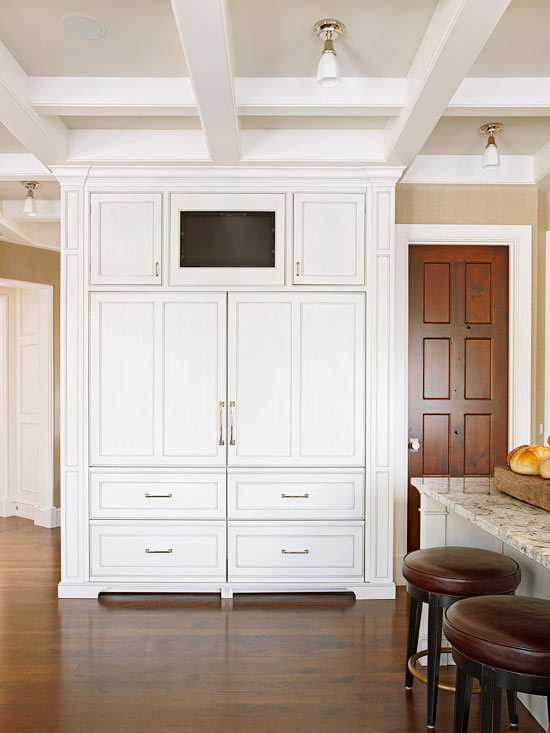 Built In TV Niche  Transitional  kitchen  BHG