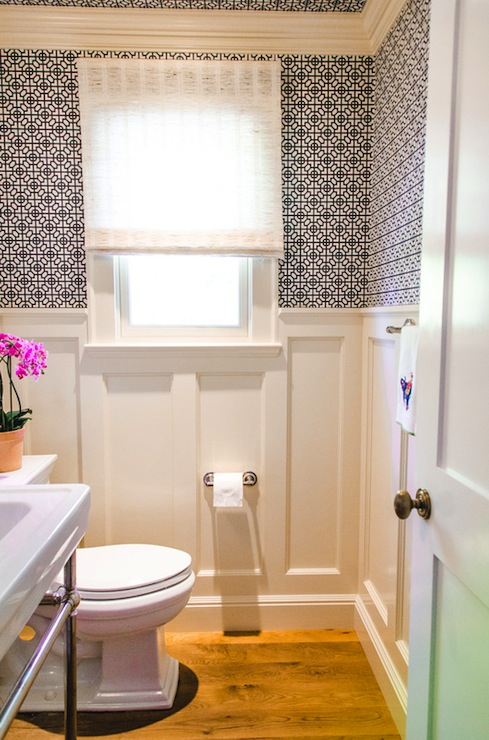 Geometric Wallpaper  Contemporary  bathroom  Evars and Anderson