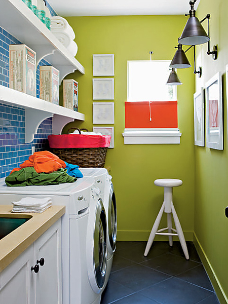 Blue Subway Tile  Contemporary  laundry room  My Home Ideas