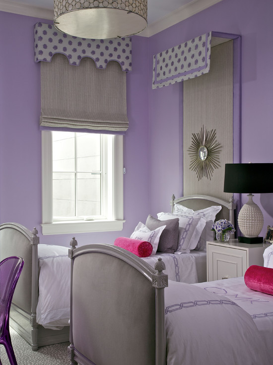 Purple and Gray Girls Room  Contemporary  girls room