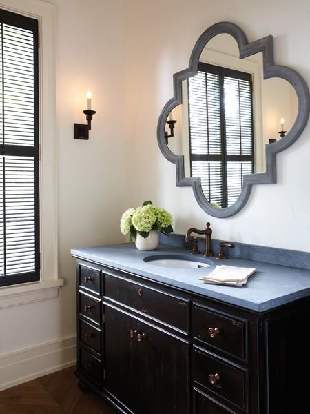 Quatrefoil Mirror  Traditional  bathroom  Benjamin Moore Black Jack  House  Home