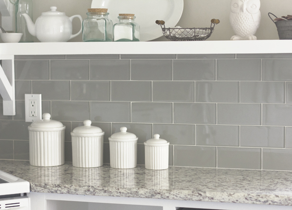 gray glass subway tile transitional