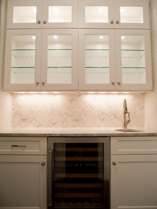 Marble Herringbone Tile Backsplash  Transitional