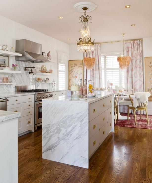 Waterfall Marble Kitchen Island  Eclectic  kitchen