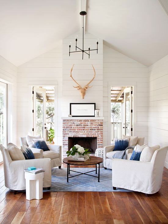 Red Brick Fireplace  Transitional  living room  BHG