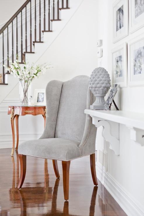 Gray Velvet Wingback Chair  Transitional  entrancefoyer