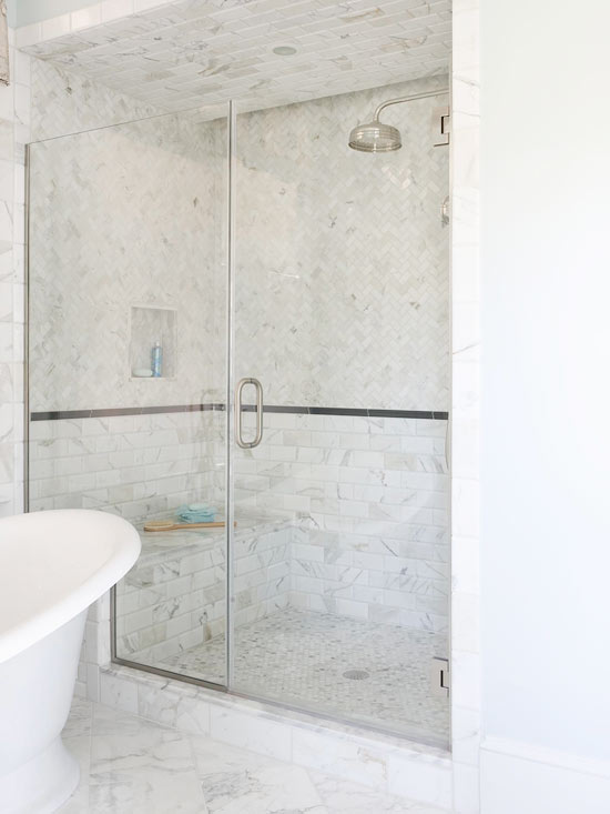 Marble Herringbone Shower Floor Design Ideas