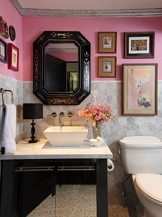 Pink And Gray Powder Room Eclectic Bathroom BHG