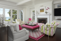 Pink and Green Living Room - Cottage - living room ...