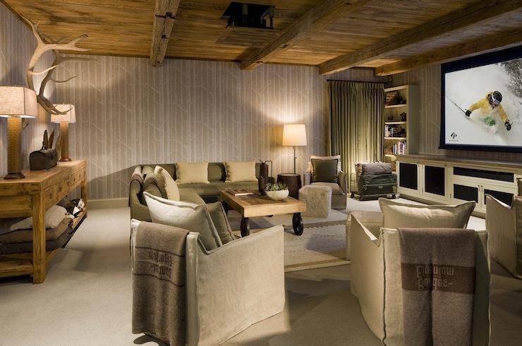 linen slipcovered sofa grey contemporary bed basement tv room - country scarp ridge lodge