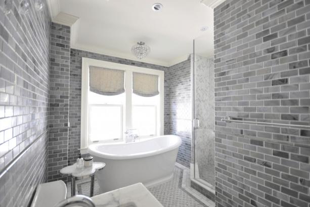 Gray Subway Tile  Transitional  bathroom  Meredith