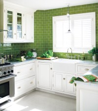 Green Subway Tile - Contemporary - kitchen - Style at Home