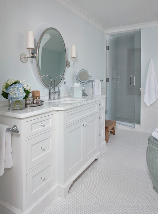 White and Blue Bathroom Design  Traditional  Bathroom