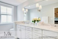 White Bathroom cabinets with marble Countertops ...