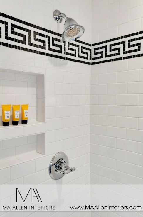 Greek Key Tile  Contemporary  bathroom  MA Allen Interiors