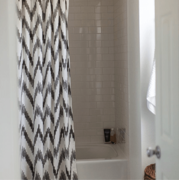 Chevron Shower Curtain  Contemporary  bathroom  Grey