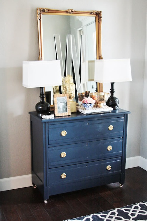 Painted Accent Chest  Eclectic  living room  Sherwin Williams Mindful Gray  Little Green
