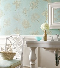 Turquoise and Gold Wallpaper - Traditional - bathroom ...