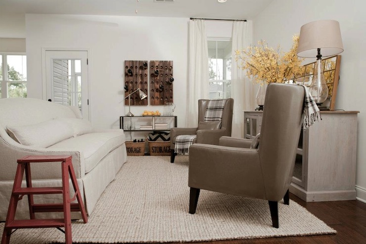linen slipcovered sofa covering radiator gray leather wingback chairs - cottage living room ...