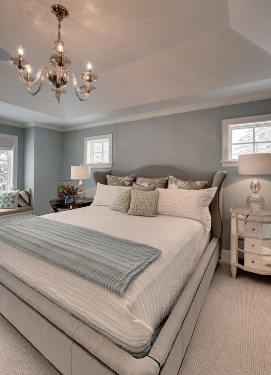 Blue and Gray Bedroom  Contemporary  bedroom  Great