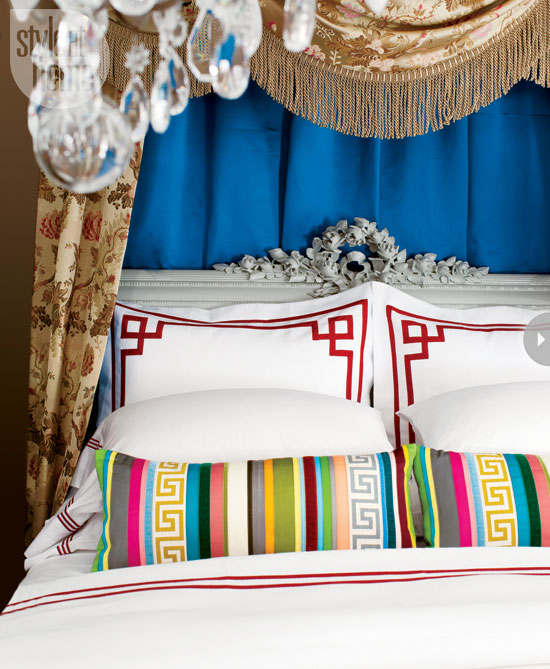 Girl Bedroom Wallpaper Border Greek Key Pillows Eclectic Bedroom Style At Home