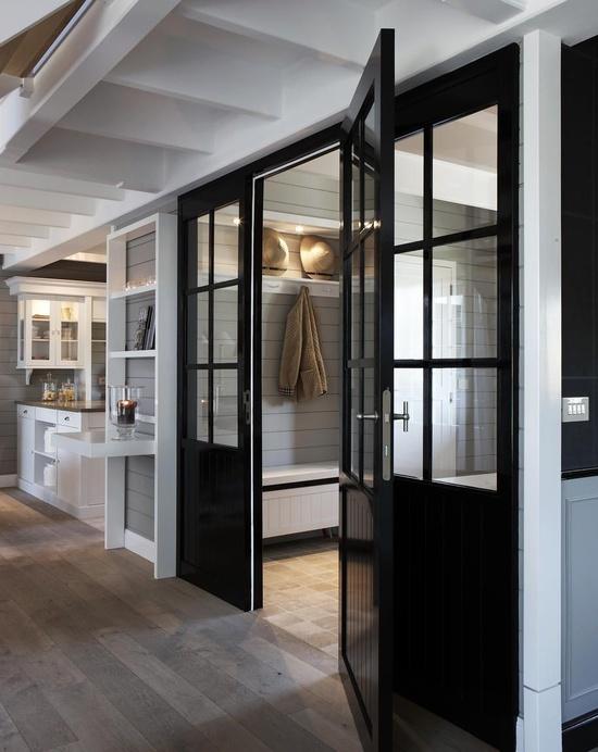 Black Beadboard Door  Transitional  laundry room  Mi Casa