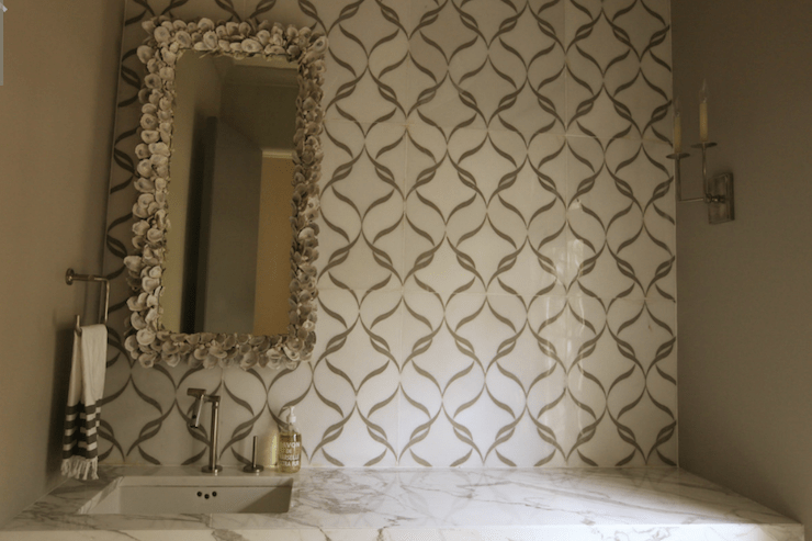 Seashell Encrusted Mirror  Contemporary  bathroom