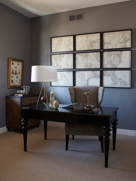 dark grey home office Iron and Wood Desk - Traditional - boy's room - A Well
