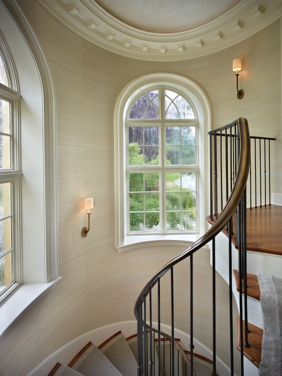 Staircase Dome Ceiling Traditional Entrance Foyer Toth | Window Design For Stairs | Stylish | House Box Window | U Shaped | Big Window | Luxury Window