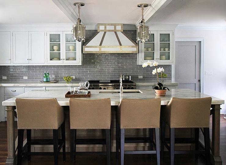 Gray Subway Tile Backsplash Contemporary Kitchen