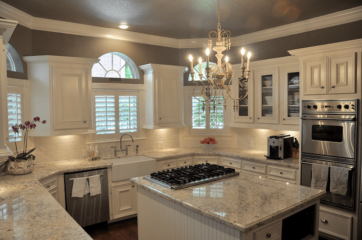 Bianco Romano Granite Countertops Transitional Kitchen