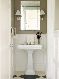 Taupe Powder Rooms - Transitional - Bathroom