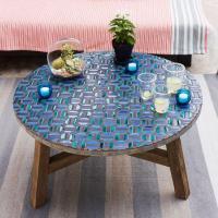 Mosaic Tiled Bistro Table - Aqua Glass - west elm