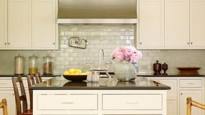 Iridescent Backsplash Cottage Kitchen Christine