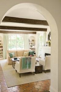 Hex Terracotta Tile Floor - Mediterranean - living room ...