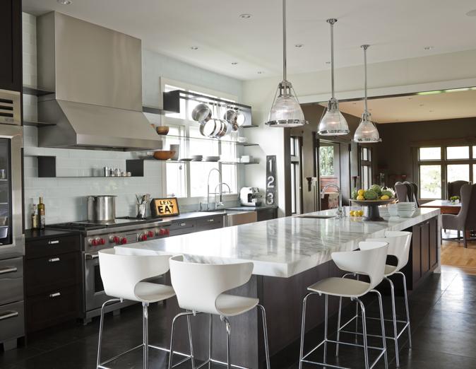 Long Kitchen Island  Contemporary  kitchen  NB Design Group