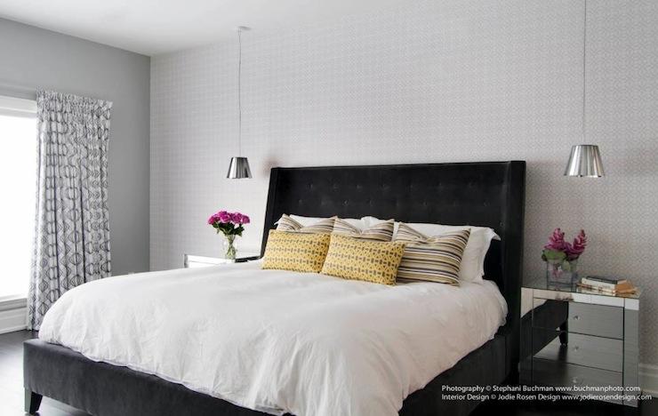 Black Velvet Tufted Headboard Contemporary Bedroom Stephani Buchman