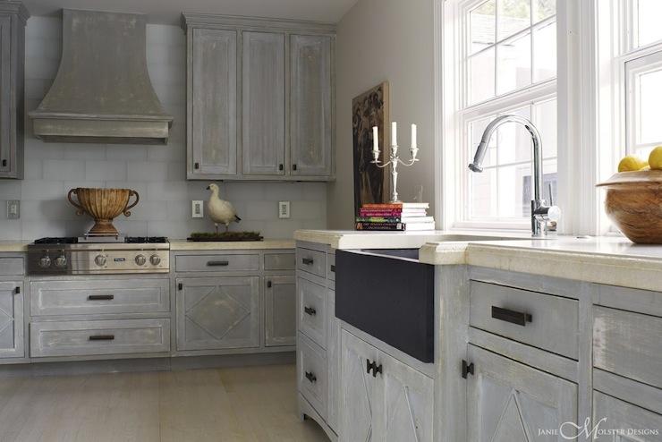 Distressed Kitchen Cabinets  Cottage  kitchen  Janie