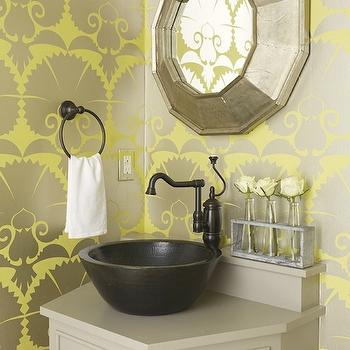 Yellow and Gray Floral Wallpaper  Contemporary  dining room  Amie Corley Interiors