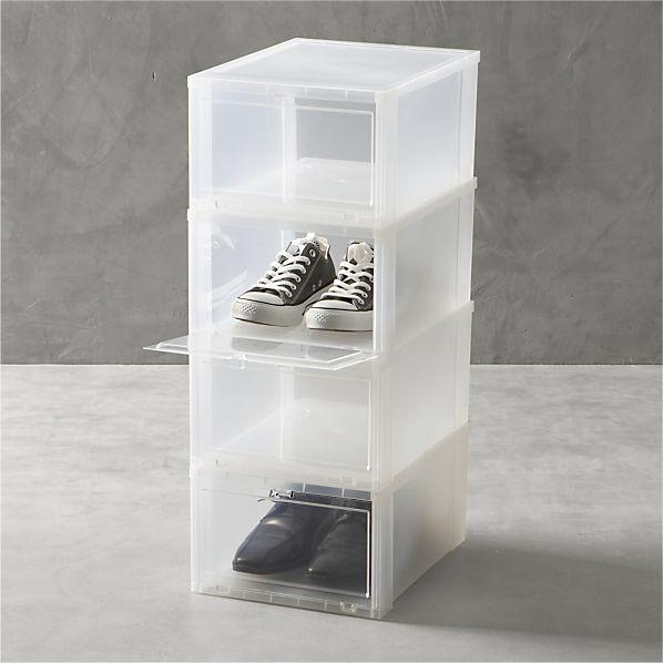Large Clear Shoe Boxes Set of Four in Closet  Crate and Barrel