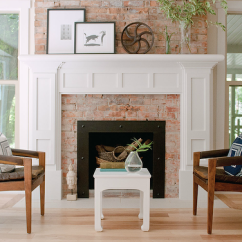Ashley Oversized Chair Koken Barber For Sale White Brick Fireplace With Mantle - Transitional Living Room House & Home