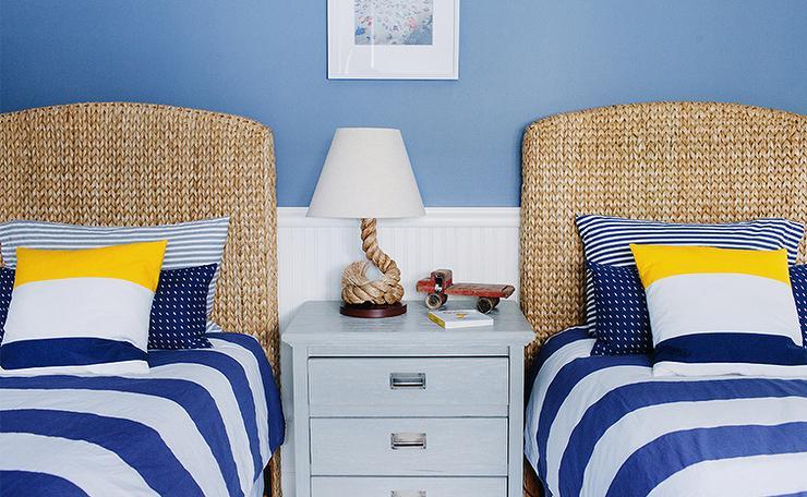 White and Blue Striped Bedding  Cottage  boys room  Lauren Nelson Design