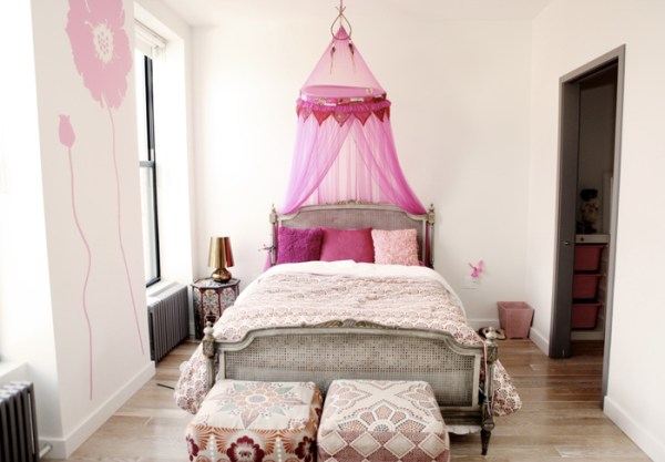 little girls pink bedroom with canopy bed Little Girl's Pink Room - Transitional - girl's room