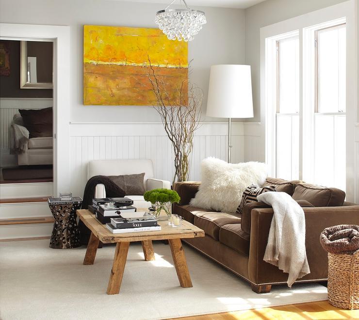 Brown Velvet Sofa  Transitional  living room  Urrutia