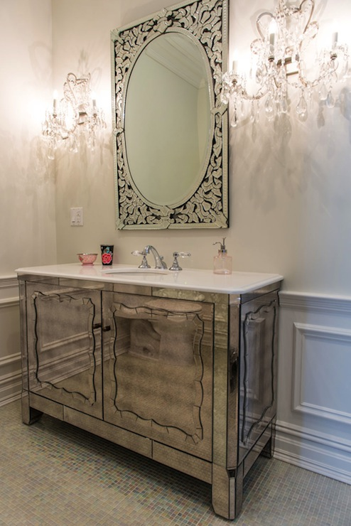 Antiqued Mirrored Vanity  Contemporary  bathroom