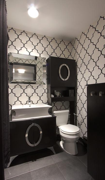 Black and White Trellis Wallpaper  Contemporary