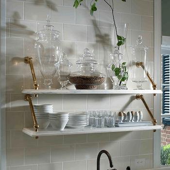 Black Beadboard Wallpaper Grey Marble Wall Mounted Shelf