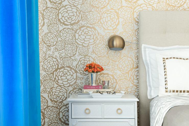Cobalt Blue Headboard  Contemporary  bedroom  Martha Angus